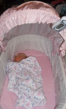 Attached to the bassinet canopy