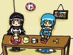 Homura and Sayaka from Madoka Magica